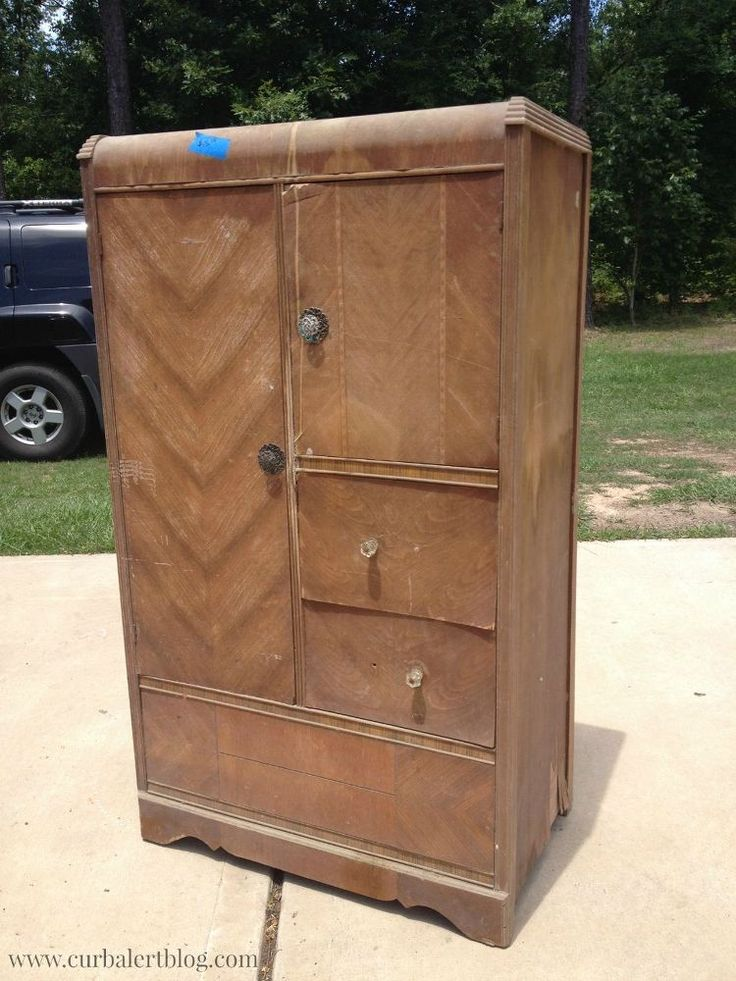 Waterfall Style Antique Chifferobe Wardrobe