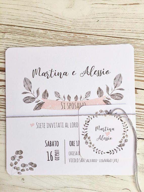 partecipazione matrimonio bianca rosa cipria e grigio chiaro