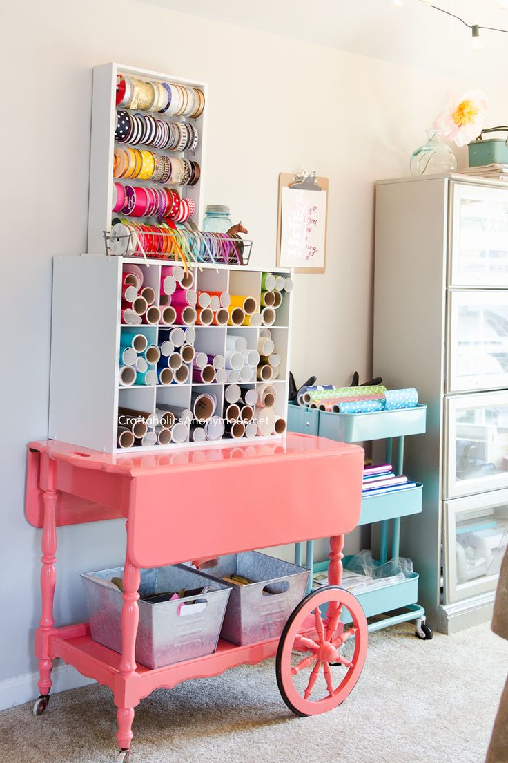Craft Room Organization and storage ideas. This is a MUST SEE Craft Room! www.CraftaholicsAnonymous.net