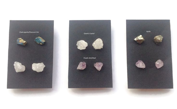 RAW GEMSTONE STUD,Pyrite, Purple Amethyst, Quartz, Peacock Ore, Chalcopyrite, Natural Stone by DandelionImpressions on Etsy https://www.etsy.com/listing/254710442/raw-gemstone-studpyrite-purple-amethyst