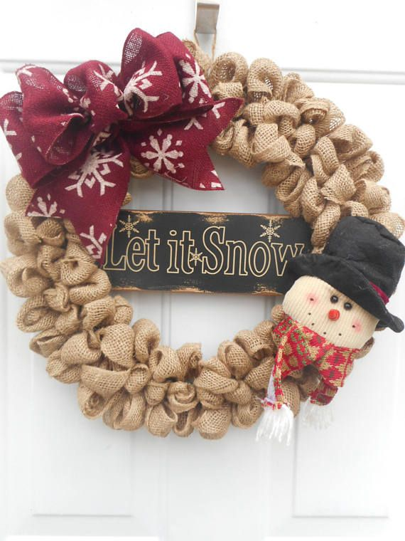 Winter snowman burlap wreath Winter Let it Snow burlap wreath