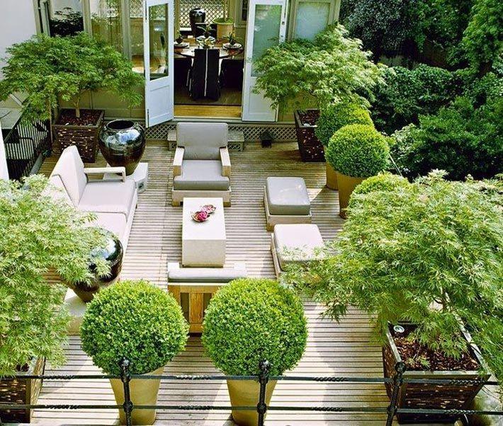 Терраса на крыше, утопающая в зелени деревьев