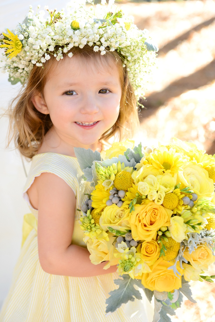 Yellow & Grey Bouquet: Yellow roses, daisies, freesia, ornithogalum, craspedia with dusty miller and berzelia berries.