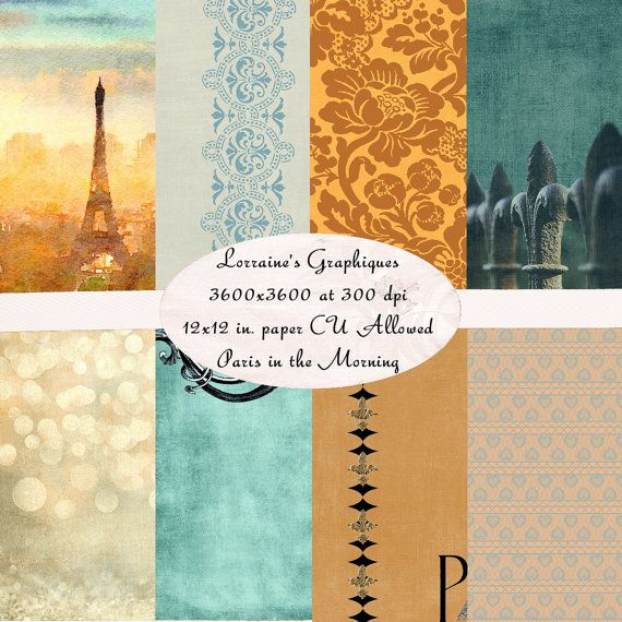 Paris in the Morning:  A French Inspired Digital Background Paper Set