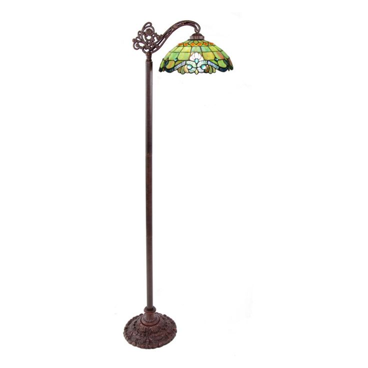 River of Goods Stained Glass Peridot Vivaldi Side Arm Floor Lamp - 10942