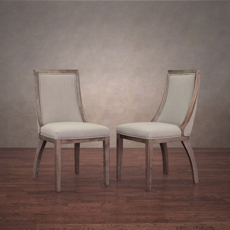 Park Avenue Beige Linen Dining Chairs (Set of 2), Brown