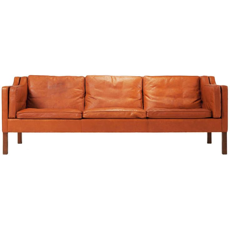 cognac leather sofa by borge mogensen