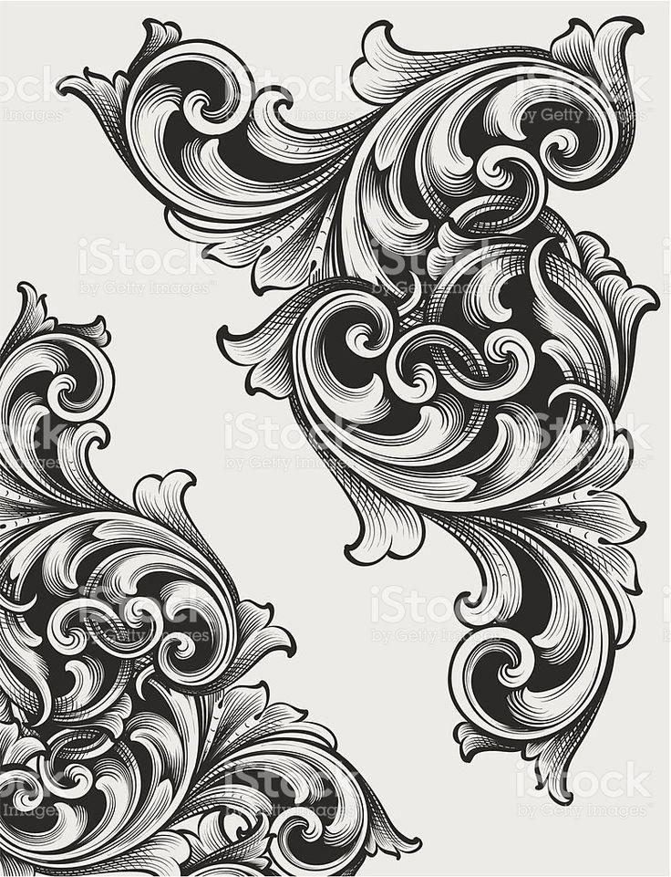 Pergaminhos gravados Corner vetor e ilustração royalty-free royalty-free