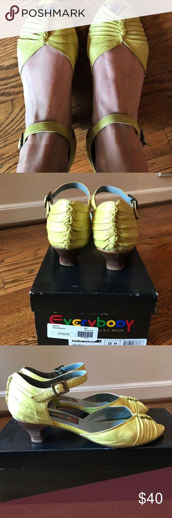 """Everybody """"Nepal"""" Ruffled Leather Sandals Make a bold statement in these ruffled top and back yellow sandals. They will look amazing with anything you want to add a pop of color too. 1 1/2"""" heel. Excellent condition. Everybody Shoes Sandals"""