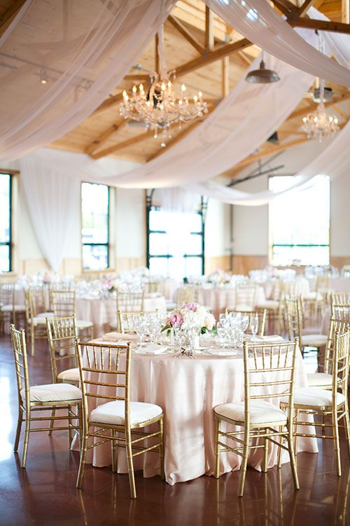 Classic St. Louis Wedding, Blush and Gold Reception Space | Brides.com