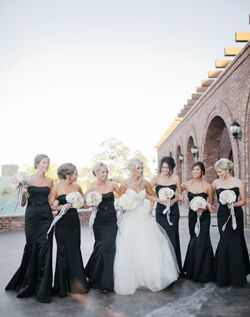 Long Black bridesmaid dresses: pulled back hair and white bouquets...could change to