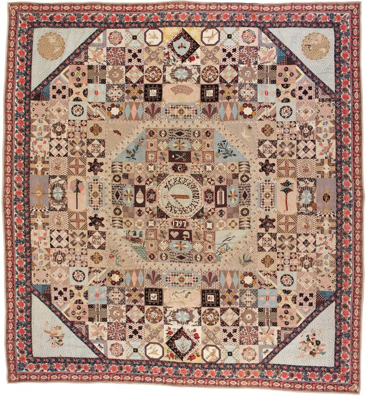 The Sundial Coverlet, dated 1797, wide variety printed dress cottons, primarily in palette of pink, brown & blue, prob. bought from manufacturer or vendor for quilt making, very complex paper piecing, lining from many pieces of worn cotton, much darning on back.
