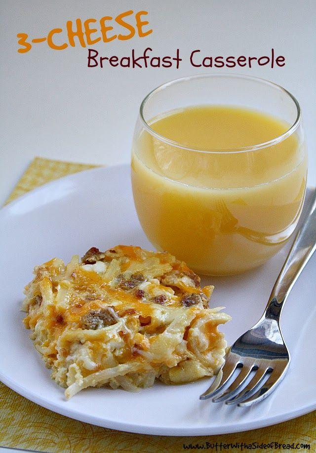 Three Cheese Breakfast Casserole ~ Butter With A Side of Bread #recipe #breakfast