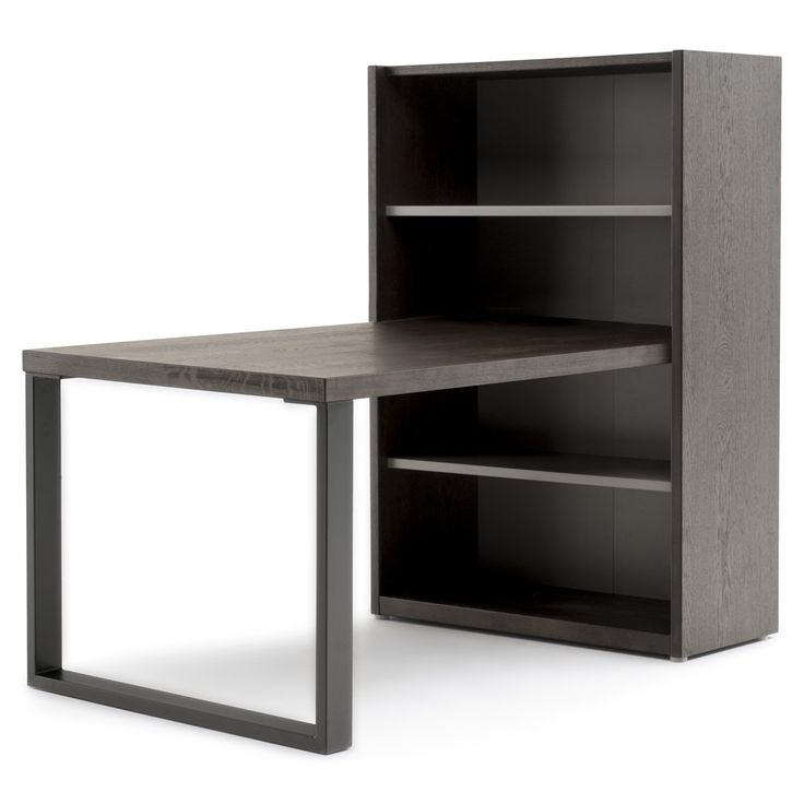 Desk U0026 Bookcase Package NEHO By MOBILIA   Dark Oak Veneers   Artificial  Stone In Grey