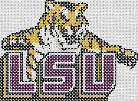 46 best lsu cross stitch images on pinterest crocheting patterns lsu tigers cross stitch pattern only fandeluxe Gallery