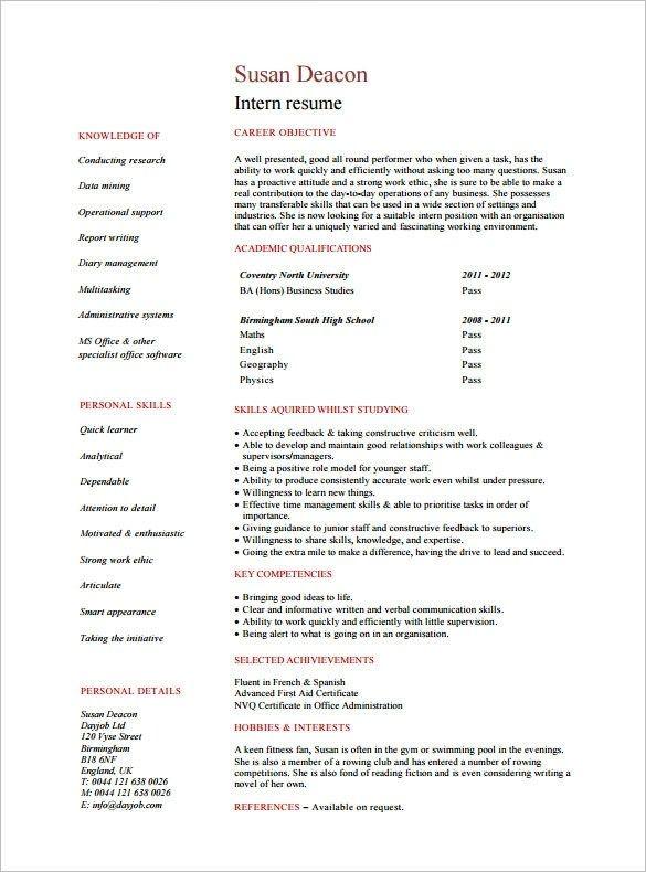 8 Internship Resume Templates Pdf Doc Free Premium Resume Templates Resume Template Resume