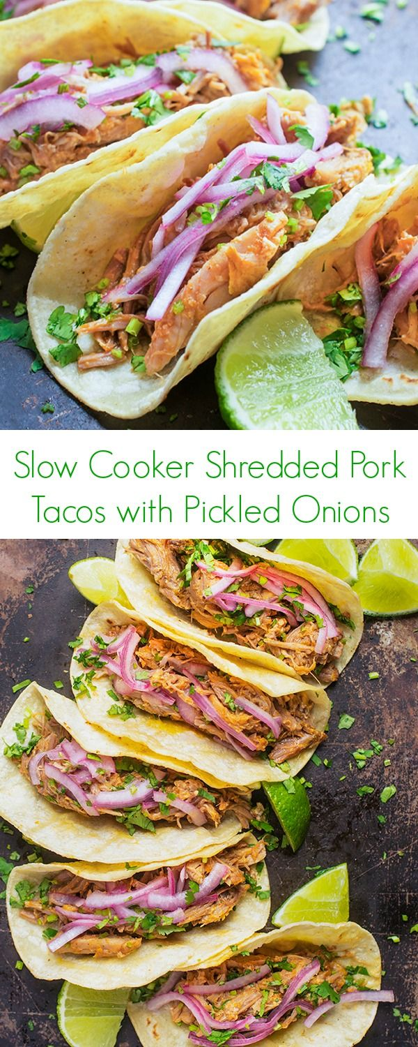 Slow Cooker Shredded Pork Tacos with Pickled Onions Recipe - This ULTIMATE Mexican comfort food makes the perfect easy dinner or lunch! - The Lemon Bowl