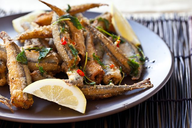 fried smelt. love this with the congee you get at the dim sum restaurants w/ the thousand year eggs. recipe can be found here: http://steamykitchen.com/207-congee.html