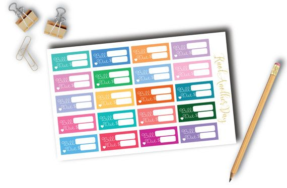 Bill Due Functional Stickers for all Planners by KnotAnotherDay