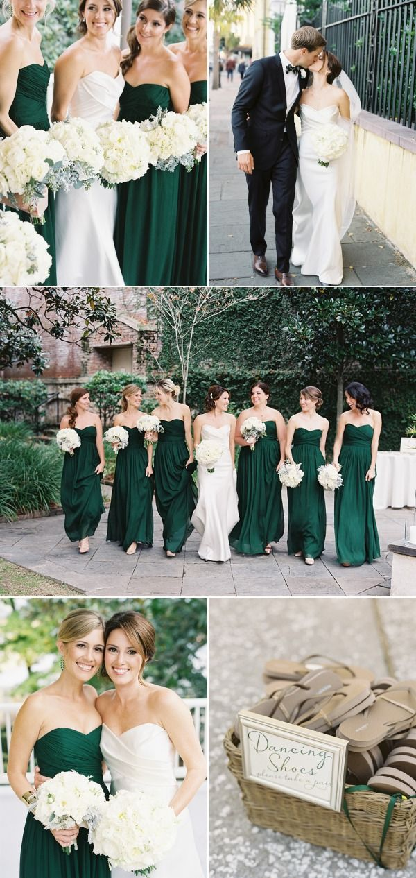 Emerald green bridesmaids dresses. So pretty! Love the white bouquets too