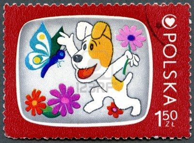 POLAND - CIRCA 1975: A stamp printed in Poland shows Reksio, the dog, Cartoon Characters and Children's Health Center Emblem