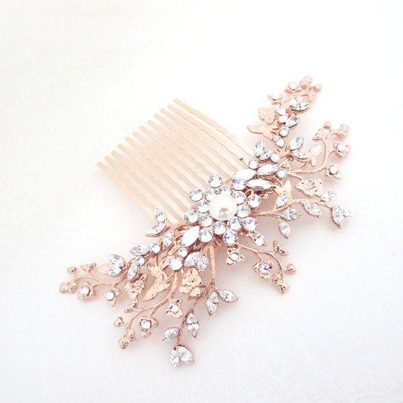 Rose Gold hair comb, Bridal hair comb, Wedding headpiece, Rose Gold headpiece, Swarovski hair comb, Vintage style headpiece, Hair vine – Trang sức