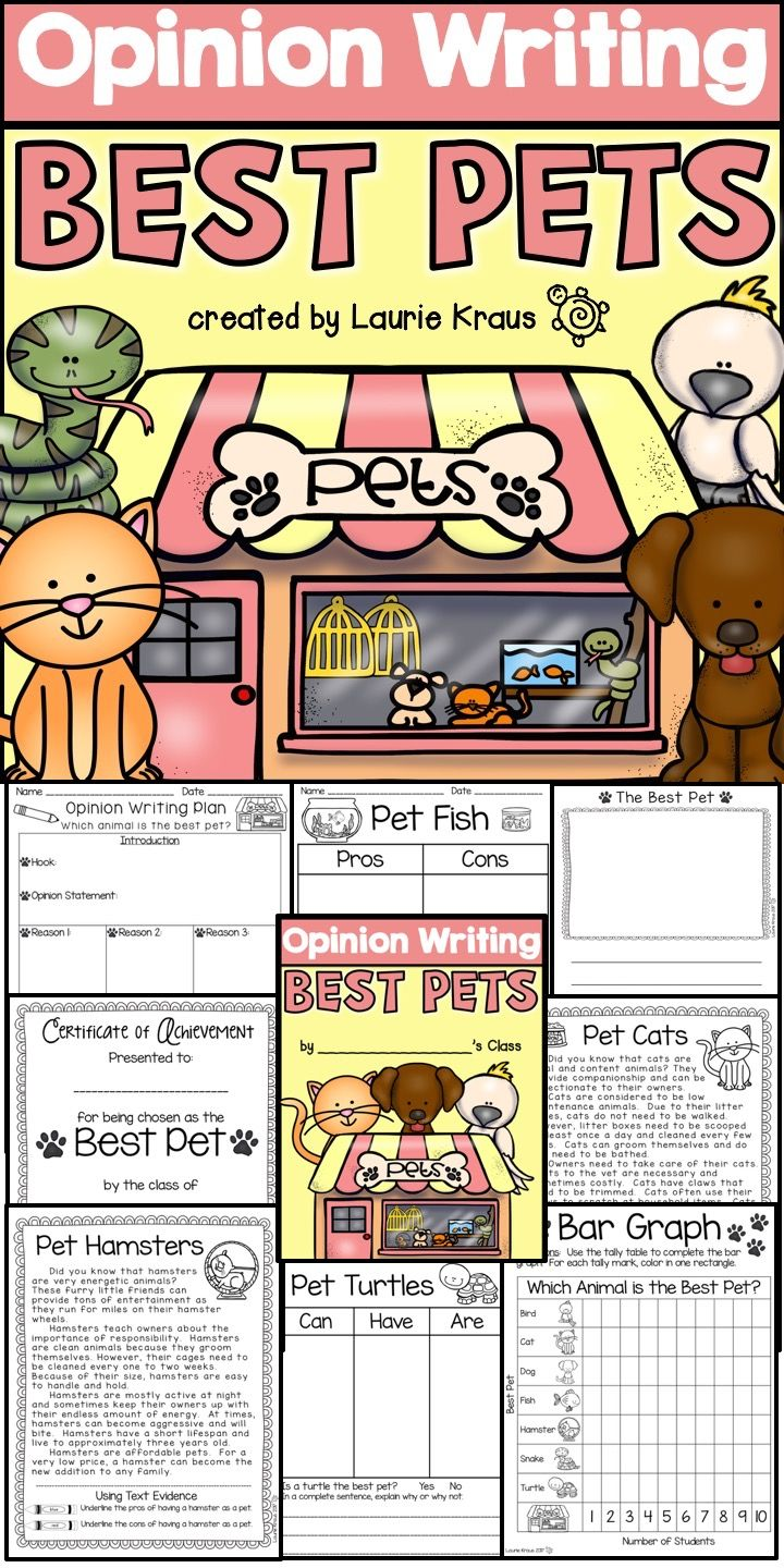 Are you teaching your students how to write an opinion essay? These writing activity sheets, graphic organizers, and informational sheets will help your students learn how to read informational text, form an opinion, and plan and write an opinion essay. Students will enjoy reading about a variety of pets and deciding which pet is the best.