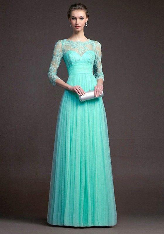 Green Plain Lace Pleated 3/4 Sleeve Elegant Fashion Ball Gown Prom Maxi Dress