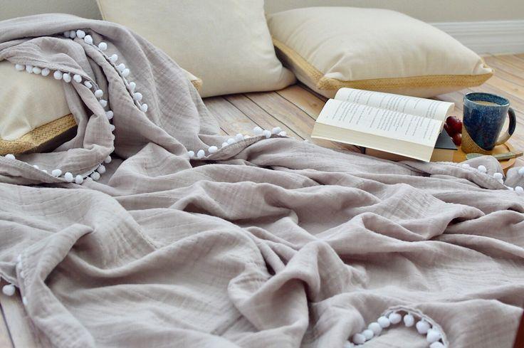 Mama throw blanket with Pom Pom trim / adult sized muslin blanket