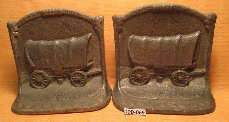 Antique PRAIRIE SCHOONER CONESTOGA COVERED WAGON Aluminum BOOKENDS MAKE OFFER