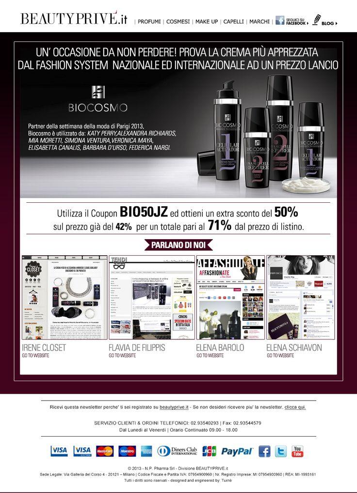 """BEAUTYPRIVE'.it PROMO BIOCOSMO....IL marchio di cosmetica più apprezzato dal fashion system nazionale ed internazionale...(-71%):  http://www.beautyprive.it/index.php?xb=98dce83da57b0395e163467c9dae521b&yb=a39e52796a772fcc125e2de5f4db4766  Utilizza il Coupon """"BIO50JZ"""" ed ottieni un extra sconto del 50% sul prezzo Beautyprivè già scontato del 42%, per un totale pari al 71% di sconto dal prezzo al pubblico...."""