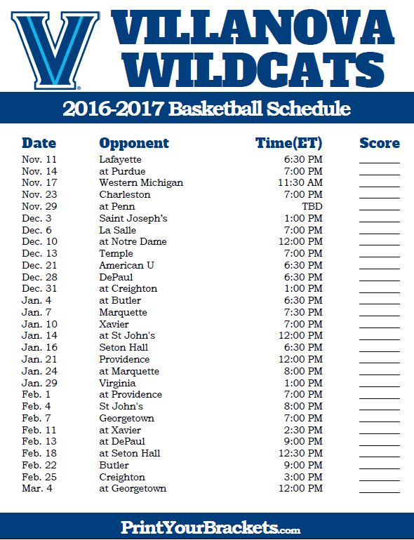 Villanova Wildcats 2016-2017 College Basketball Schedule