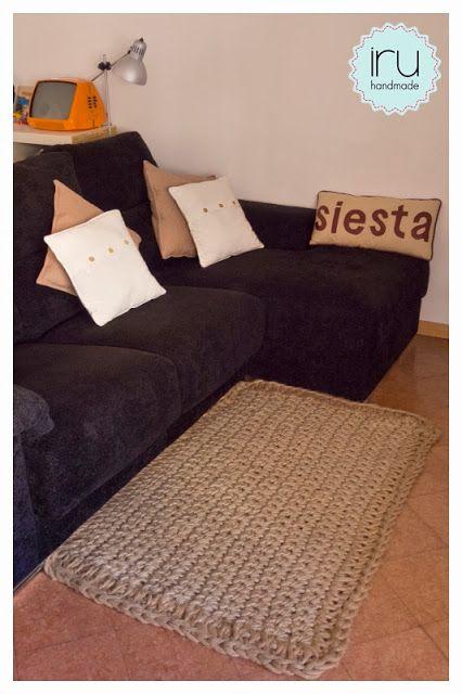 alfombra de cuerda con ganchillo