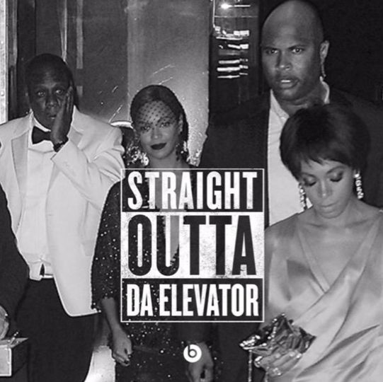 Jay-Z, Beyonce and Solange, Straight Outta Compton Meme