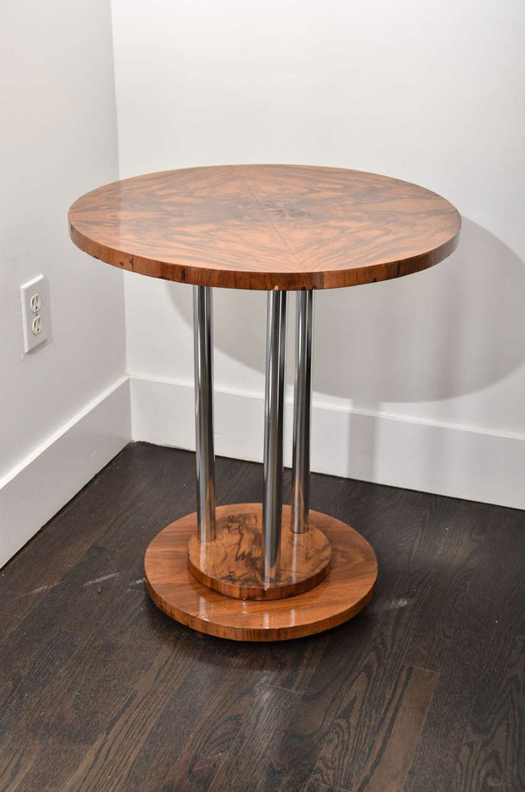 Slim round end table modern accent table with drawer calvin end table - Pair Of Crotch Walnut Italian Side Tables