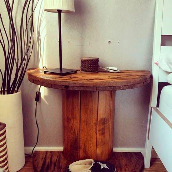 criado mudo com carretel de madeira