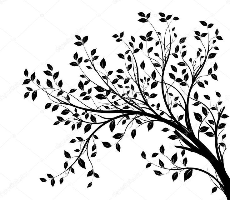 Silhueta de galhos de árvore isolada sobre fundo branco, com muitas folhas, borda de uma página
