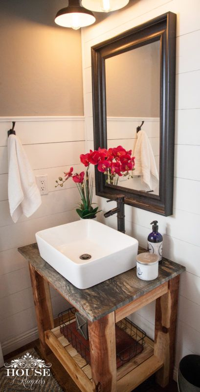 Ana White, beach, black and white, build like a girl, DIY, Edison lights, farm house, farmhouse, fixer upper, Joanna Gaines, lighting, modern, powder room, repurposed, rustic, shabby chic, Shiplap, sinks, style, two toned, vanity, vessel sink, walls, white bathroom, wood