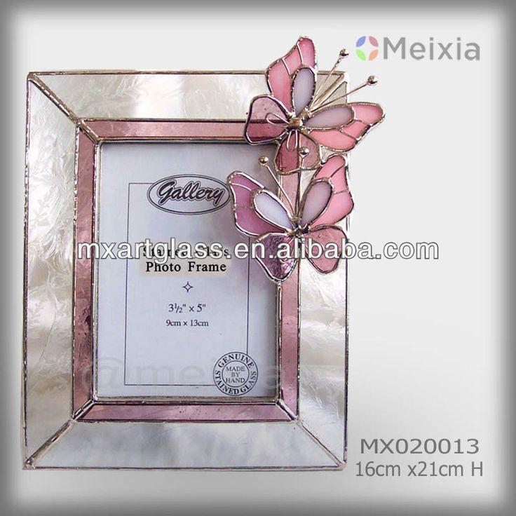 mx020013 estilo tiffany vidrieras de la mariposa marco de fotos para venta al por mayor para el hogar decoración de la pieza