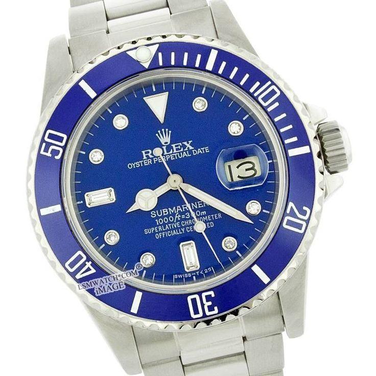 MENS ROLEX SUBMARINER OYSTER PERPETUAL S. STEEL 16610 CERAMIC BLUE DIAMOND WATCH #Rolex #LuxuryDressStyles