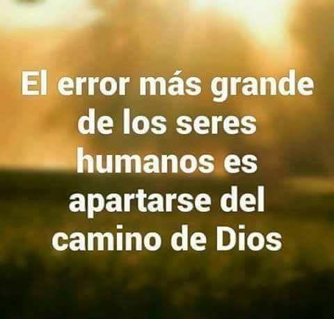 El error mas grande de los seres humanos es apartarse del camino de Dios.