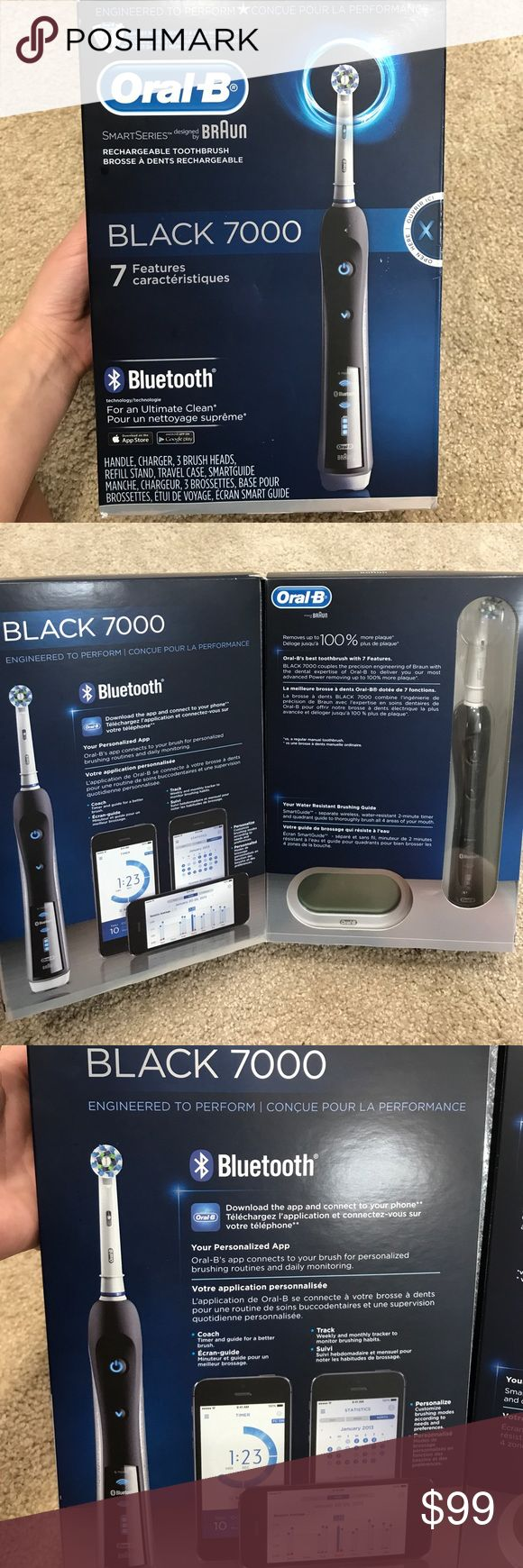 Oral B black 7000 toothbrush with Bluetooth The professionally inspired design of the Cross Action brush head surrounds each tooth with bristles angled at 16 degrees, and 3D cleaning action oscillates, rotates, and pulsates to break up and remove up to 100% more plaque than a regular manual toothbrush. The pressure sensor lights up if you brush too hard to prevent harmful over-brushing and there are 6 modes and a timer to help you brush for a dentist-recommended 2 minutes. Brought to you by…