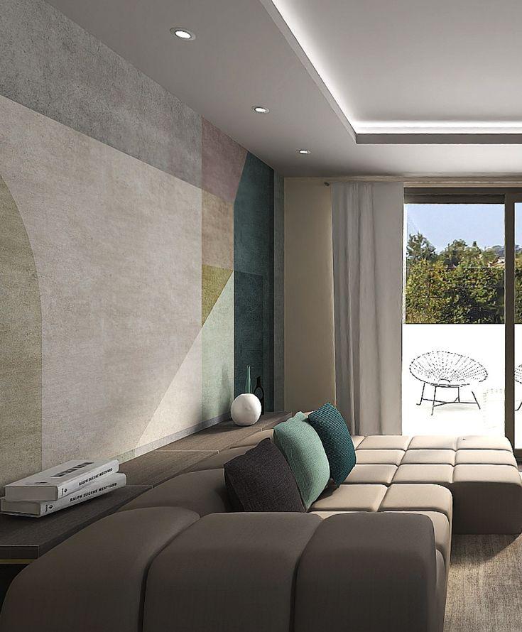 Carta da parati in soggiorno | Arredamento minimalista ...