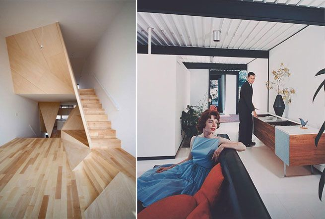 Left Kyoto Town House / Right - Julius Schulman Image_Case Study House 21