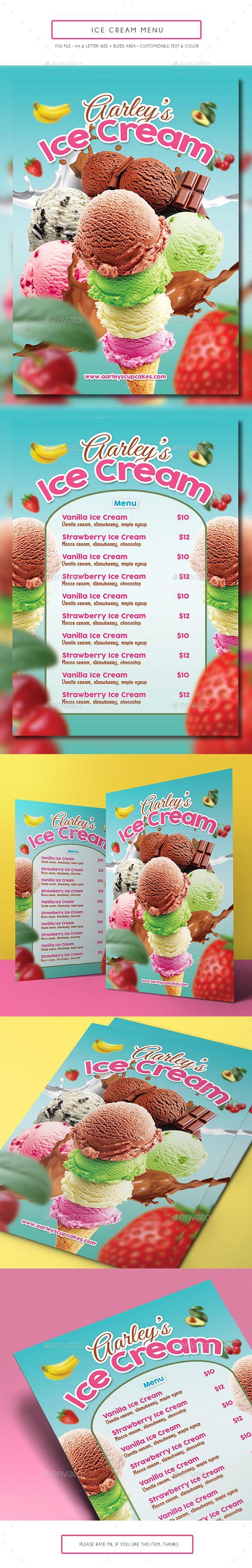 Ice Cream Menu Template PSD. Download here: http://graphicriver.net/item/ice-cream-menu/14688777?ref=ksioks