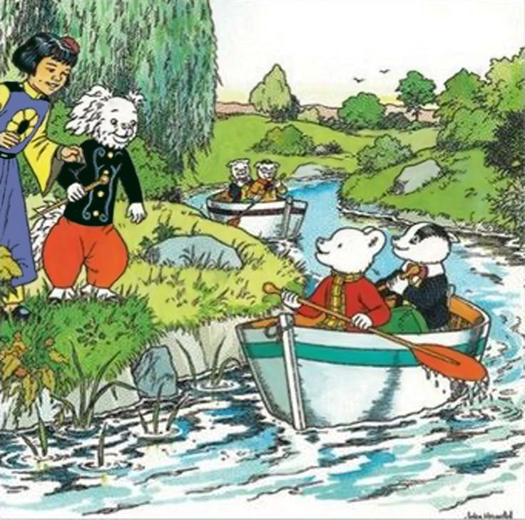 Rupert Bear and his friends on the river