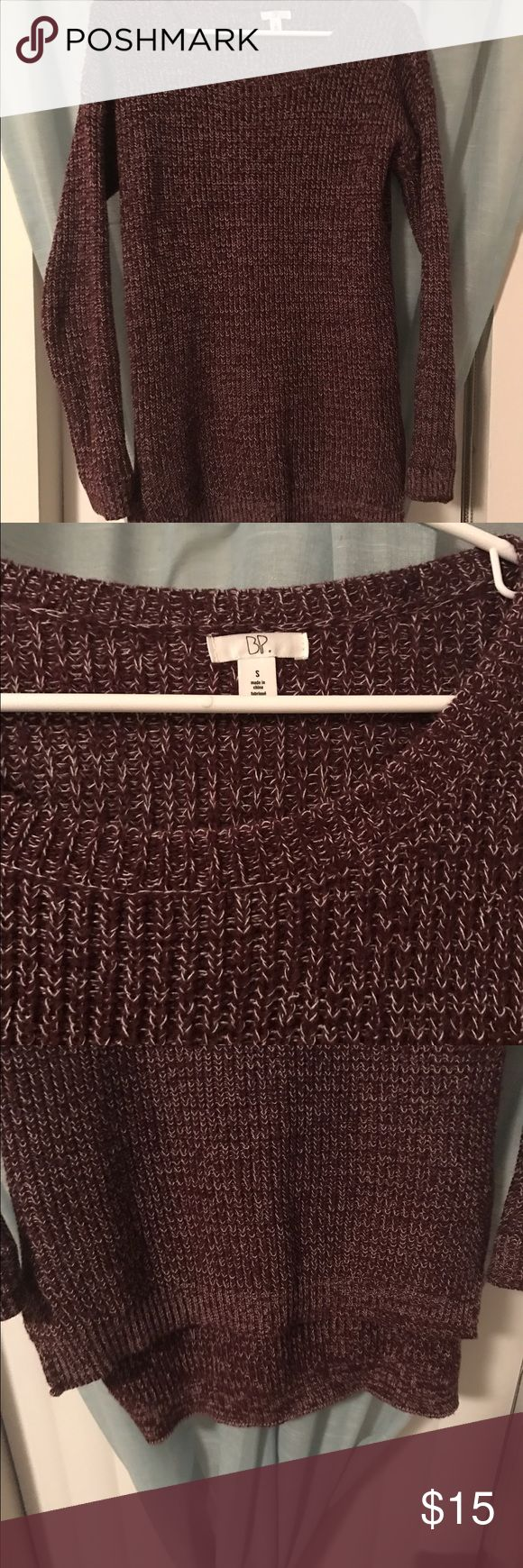 BP Burgundy Marled Sweater BP burgundy marled sweater, longer in the back. Very warm and great with leggings! Only worn once! bp Sweaters Crew & Scoop Necks
