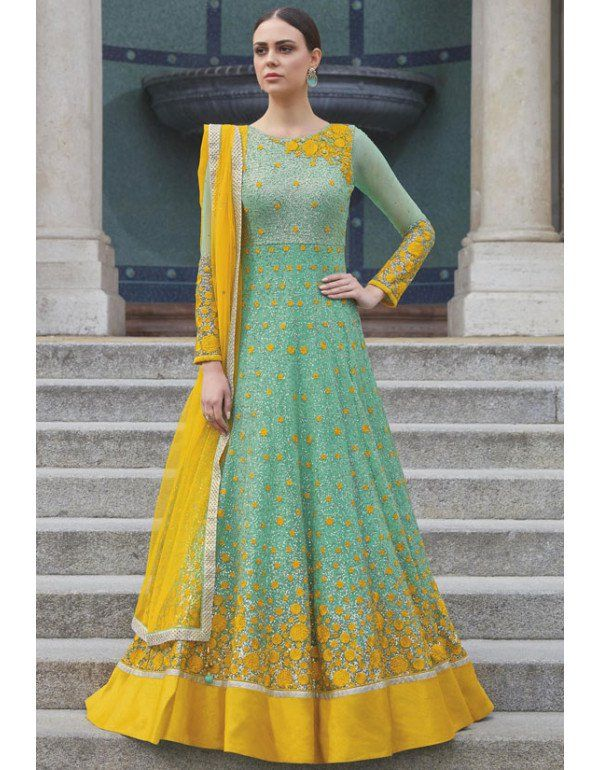 51847bd67e Mint Green Designer Anarkali Suit | Anarkali Dresses in 2019 ...