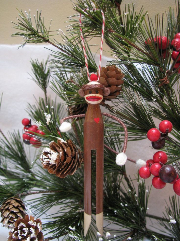 Sock Monkey Clothespin Ornament by Underpinnings on Etsy