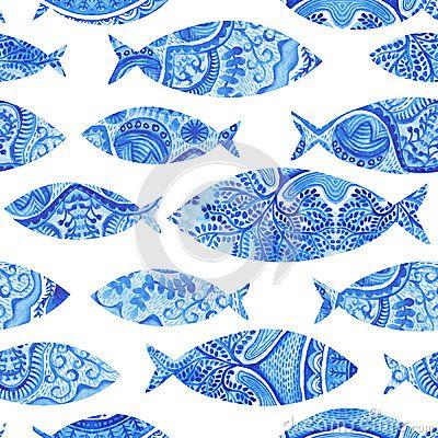 Modello senza cuciture con i pesci, fondo dipinto a mano dell acquerello